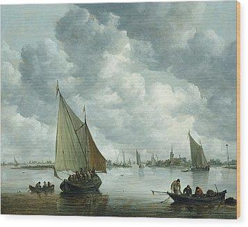 Fishingboat In An Estuary Wood Print by Jan Josephsz van Goyen
