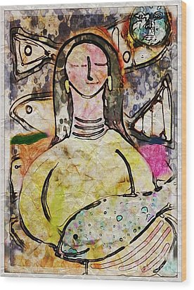 Wood Print featuring the digital art Fishmonger's Wife by Alexis Rotella
