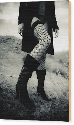 Fishnet Leg Wood Print by Scott Sawyer