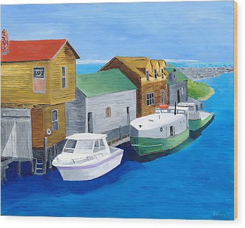 Wood Print featuring the painting Fishtown by Rodney Campbell