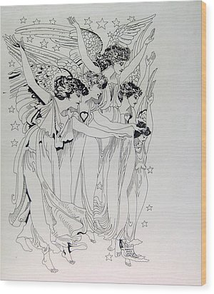 Five Angels Wood Print by Gabe Art Inc