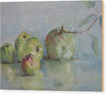 Five Apples Wood Print