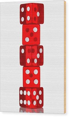 Five Dice Stack Wood Print by Richard Thomas