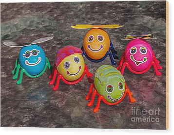 Five Easter Egg Bugs Wood Print by Sue Smith