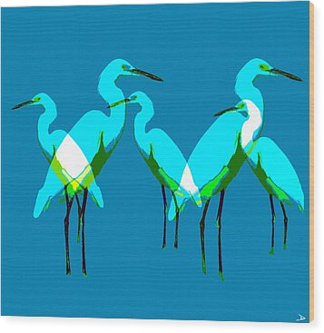Wood Print featuring the painting Five Egrets by David Lee Thompson