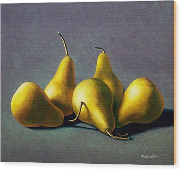 Five Golden Pears Wood Print by Frank Wilson