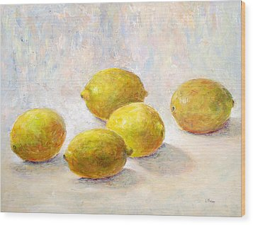 Five Lemons Wood Print