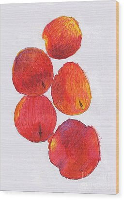 Five Nectarines  Wood Print by Andy  Mercer