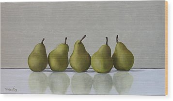 Five Pears Wood Print