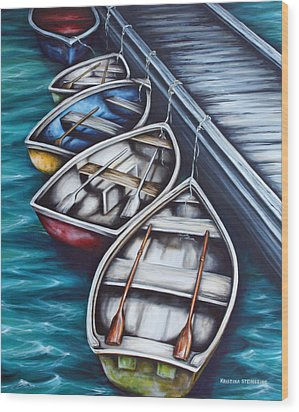 Five Rowboats Wood Print by Kristina Steinbring