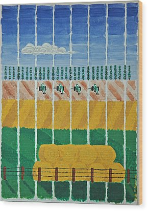 Five Tractors Wood Print