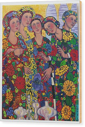 Five Women And The Iris Wood Print by Marilene Sawaf