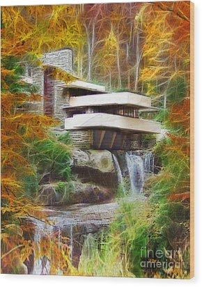 Fixer Upper - Frank Lloyd Wright's Fallingwater Wood Print