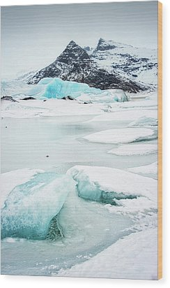 Wood Print featuring the photograph Fjallsarlon Glacier Lagoon Iceland In Winter by Matthias Hauser