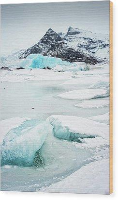 Fjallsarlon Glacier Lagoon Iceland In Winter Wood Print by Matthias Hauser