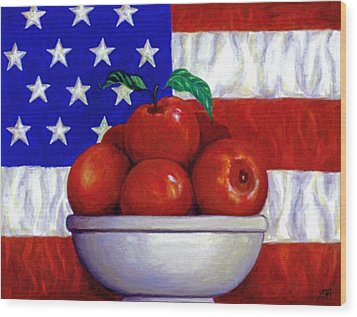 Flag And Apples Wood Print by Linda Mears