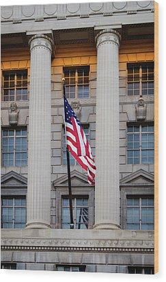 Flag And Column Wood Print by Greg Mimbs