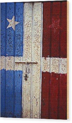 Flag Door Wood Print by Garry Gay