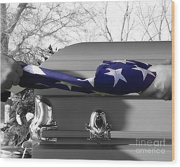 Flag For The Fallen - Selective Color Wood Print