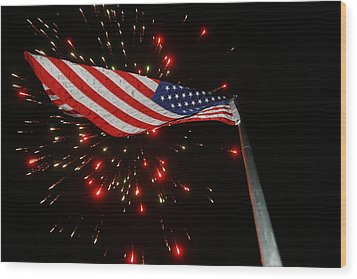 Flag In All Its Fiery Glory Wood Print by Shirley Heier