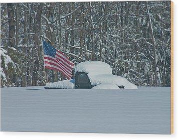 Flag In The Snow Wood Print by David Bishop