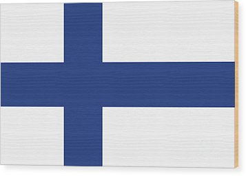 Wood Print featuring the digital art Flag Of Finland by Bruce Stanfield