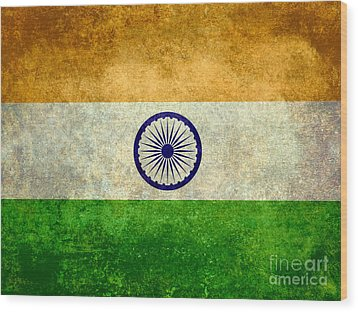 Flag Of India Vintage 18x24 Crop Version Wood Print
