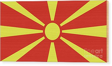 Wood Print featuring the digital art Flag Of Macedonia by Bruce Stanfield