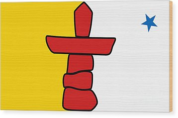 Flag Of Nunavut High Quality Authentic Hd Version Wood Print