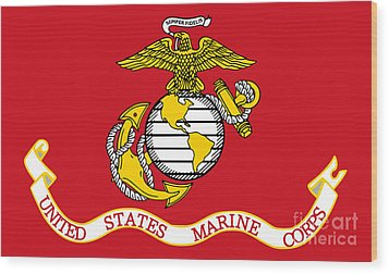 Flag Of The United States Marine Corps Wood Print