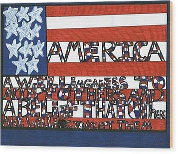 Flag One Wood Print by Darrell Black