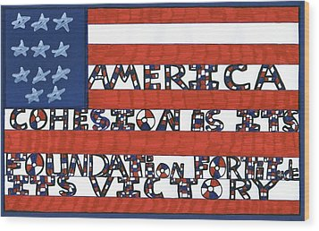 Flag Two Wood Print by Darrell Black
