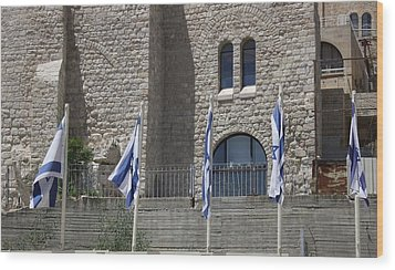 Flags At The Kotel Wood Print by Julie Alison