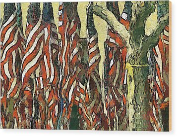 Flags For The Fourth Wood Print by Elaine Frink