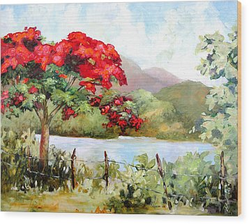 Flamboyan By The Lake Wood Print by Monica Linville