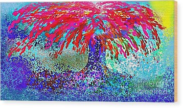 Wood Print featuring the painting Flamboyan by The Art of Alice Terrill