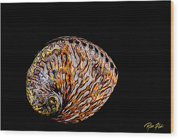 Flame Abalone Wood Print by Rikk Flohr