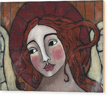 Flame-haired Angel Wood Print by Julie-ann Bowden