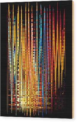Wood Print featuring the digital art Flame Lines by Francesa Miller