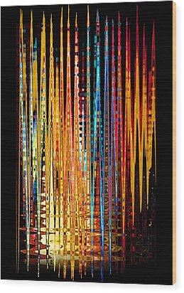 Flame Lines Wood Print by Francesa Miller