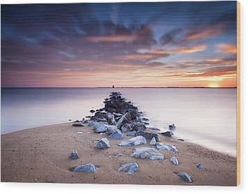 Wood Print featuring the photograph Flame On The Horizon by Edward Kreis
