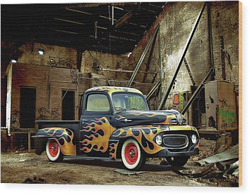 Flamed Pickup Wood Print
