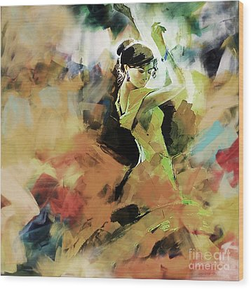 Wood Print featuring the painting Flamenco 56y3 by Gull G