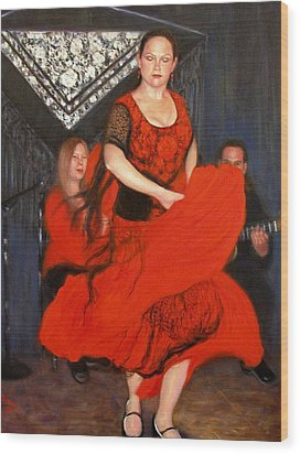 Wood Print featuring the painting Flamenco 8 by Donelli  DiMaria