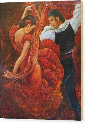 Flamenco Couple 2 Wood Print