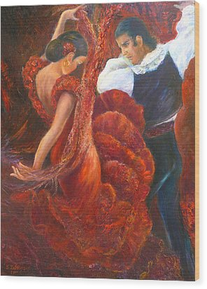 Flamenco Couple Wood Print