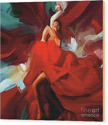 Wood Print featuring the painting Flamenco Dance 7750 by Gull G