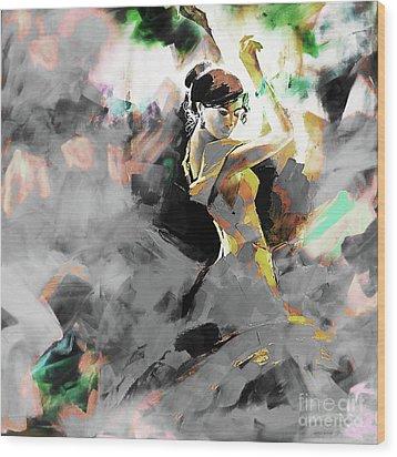 Wood Print featuring the painting Flamenco Dance Art 7u7 by Gull G