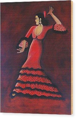 Flamenco Dancer Wood Print by Janine Antulov