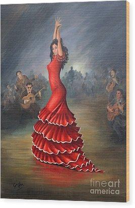 Flamenco Dancer Wood Print by Mai Griffin